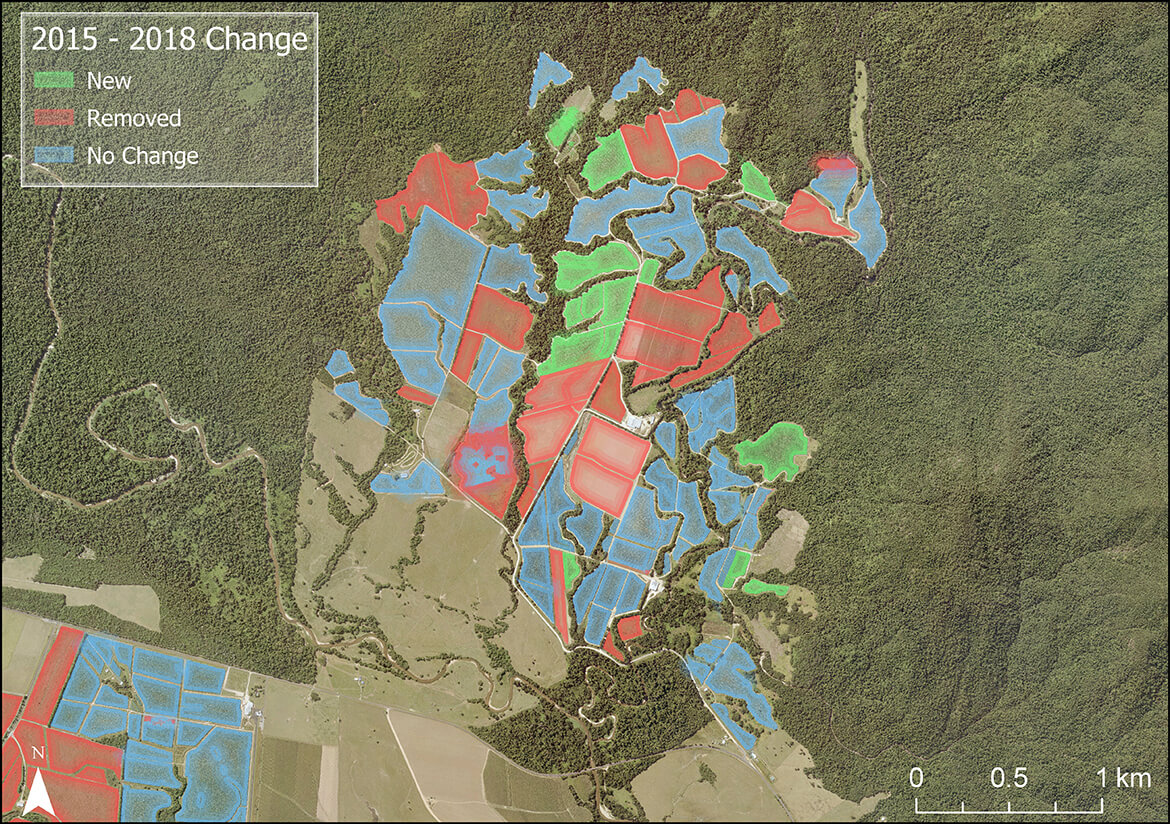 This model exemplifies how land use has changed over time, showing a banana plantation's transformation from 2015 to 2018 in North Queensland.