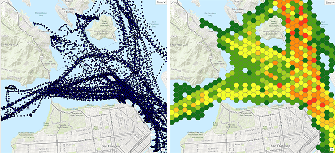 Raw AIS data and AIS data aggregated into hexbins