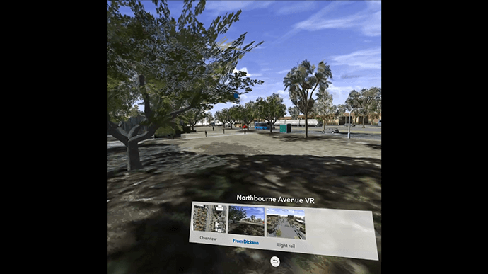 Canberra light rail simulation in the ArcGIS 360 VR app