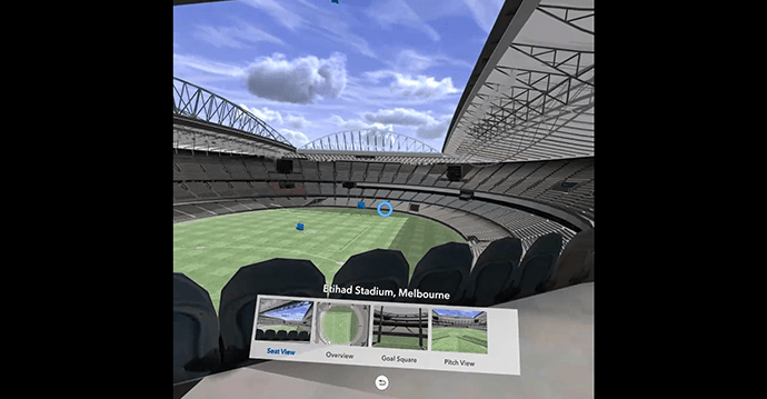 Checking out the view in Etihad Stadium, Melbourne in ArcGIS 360 VR